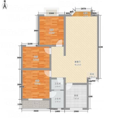 福泽源3室1厅2卫1厨129.00㎡户型图