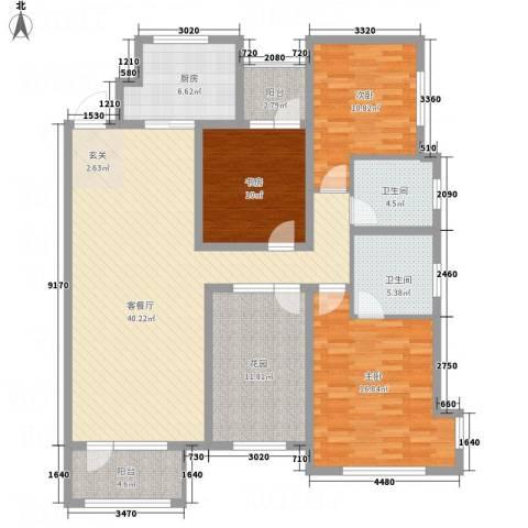 名家汇3室1厅2卫1厨162.00㎡户型图