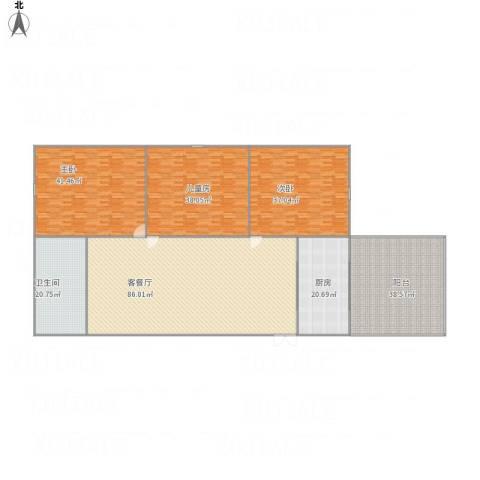 龙埠城市花园3室1厅1卫1厨367.00㎡户型图