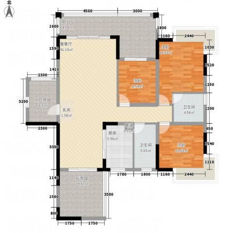 翁江新城3室1厅2卫1厨119.60㎡户型图