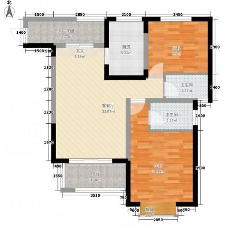 五洲国际2室1厅2卫1厨97.00㎡户型图