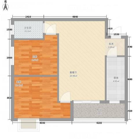 腾庆卡达凯斯山水城2室1厅1卫1厨61.00㎡户型图
