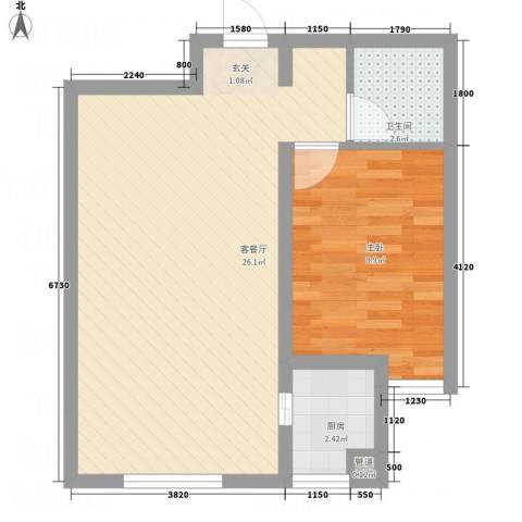 文化星城1室1厅1卫1厨41.13㎡户型图