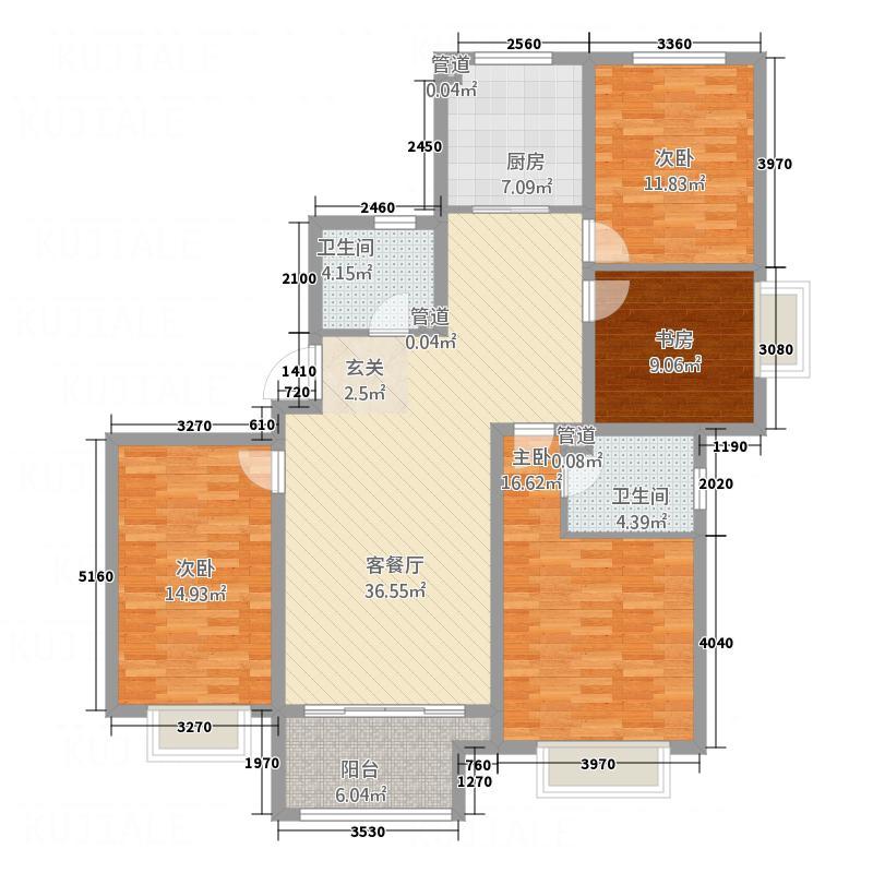 鲁班御景国际157.00㎡C2户型4室2厅2卫1厨