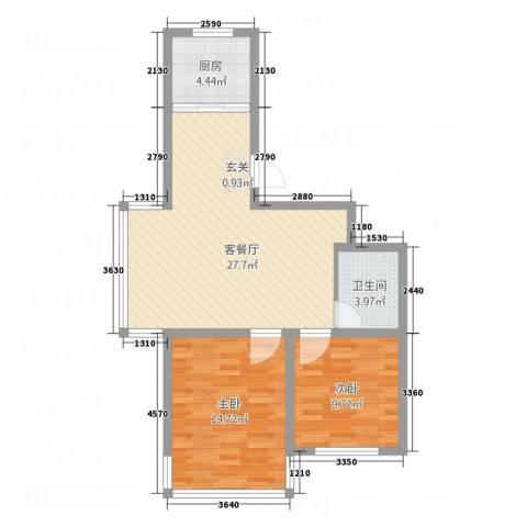 金河湾2室1厅1卫1厨86.00㎡户型图