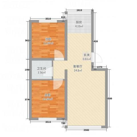 金河湾2室1厅1卫0厨86.00㎡户型图