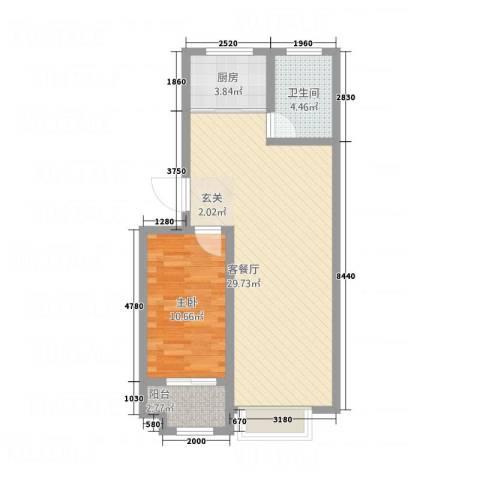 紫金园翡翠花园1室1厅1卫1厨73.00㎡户型图