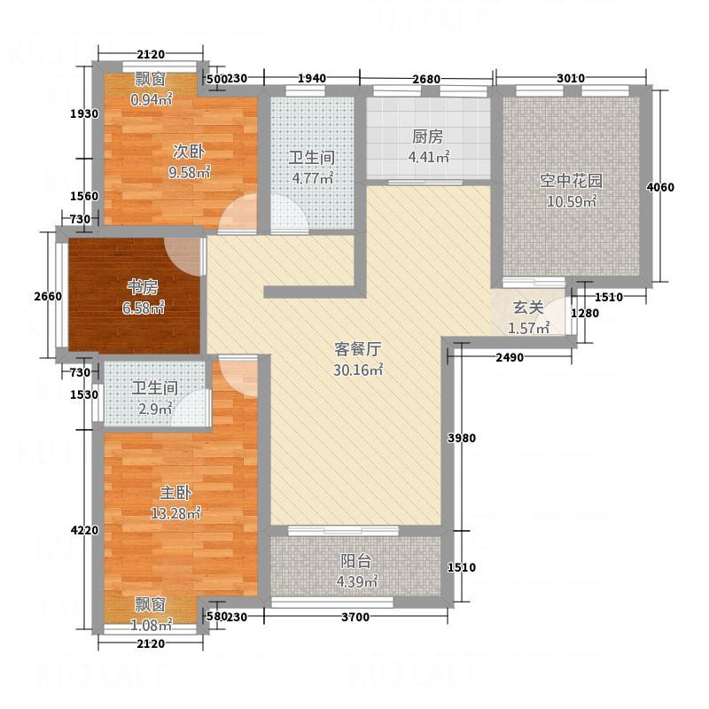 公园新天地125.00㎡C户型3室2厅2卫1厨