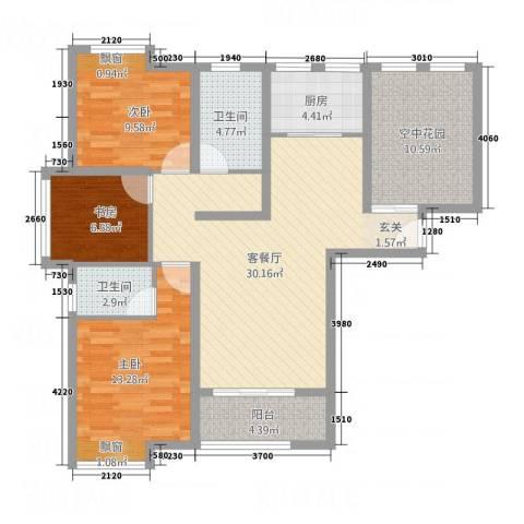 公园新天地3室1厅2卫1厨100.00㎡户型图