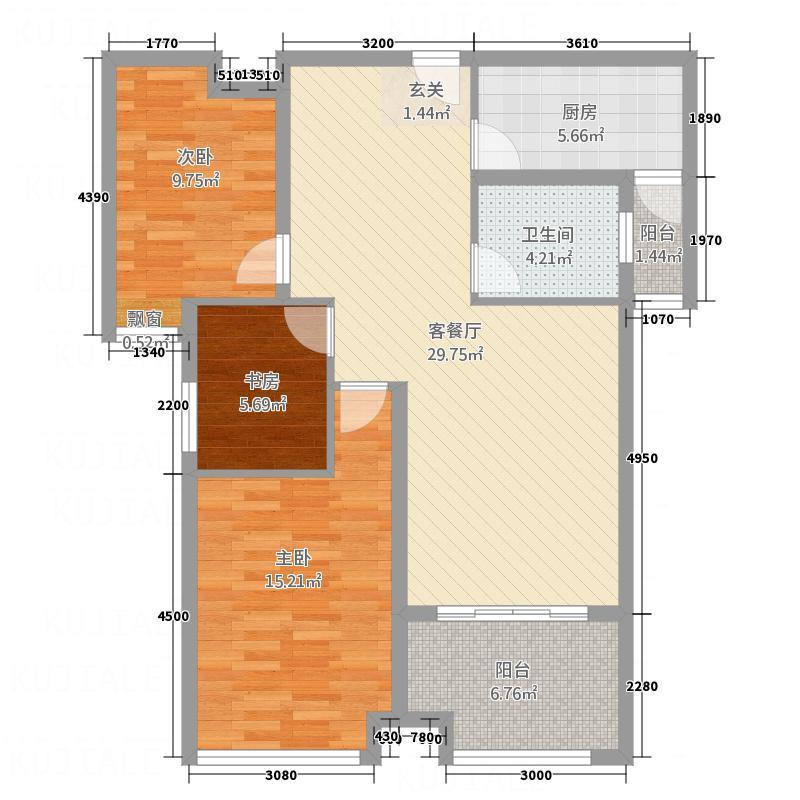 公园新天地112.00㎡B户型3室2厅1卫1厨