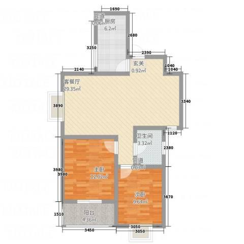 都市绿洲2室1厅1卫1厨85.00㎡户型图