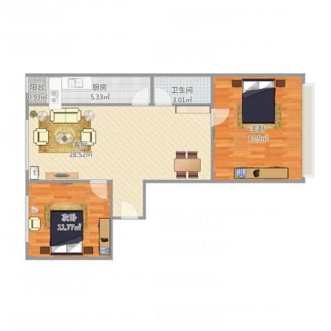 隆春里2室1厅1卫1厨90.00㎡户型图
