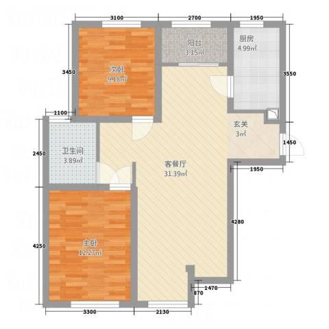 北港新城2室1厅1卫1厨93.00㎡户型图