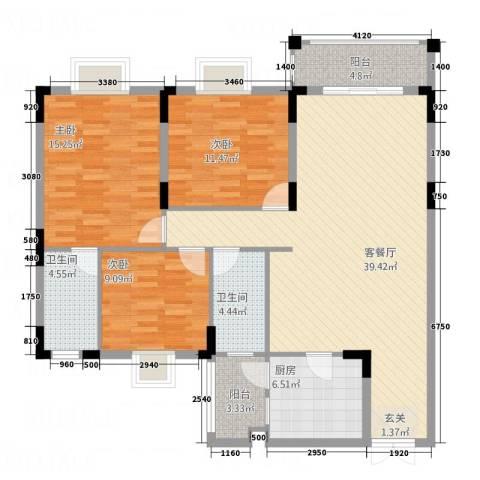 欣�雅苑3室1厅2卫1厨131.00㎡户型图