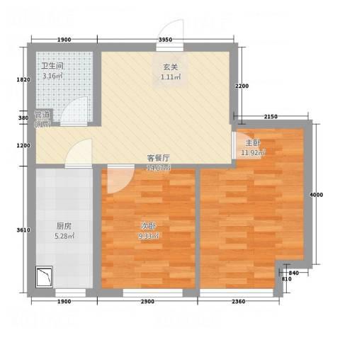 云峰公寓2室1厅1卫1厨63.00㎡户型图