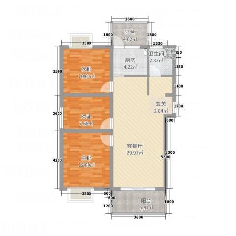 天瑞名城3室1厅1卫1厨78.54㎡户型图