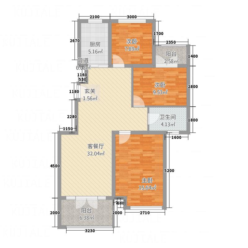 中冶黄石公园18.32㎡B户型3室3厅1卫