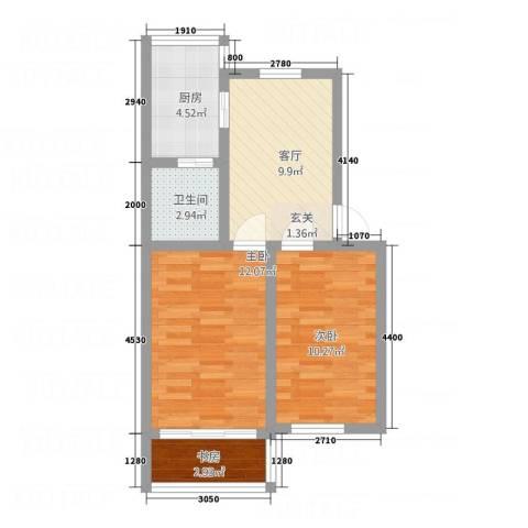 云峰公寓3室1厅1卫1厨63.00㎡户型图