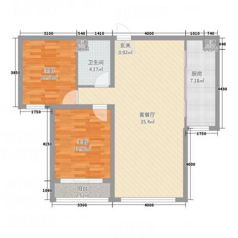 西线7号2室1厅1卫1厨72.23㎡户型图