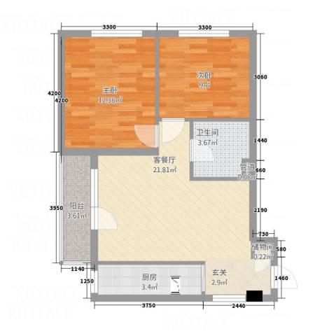 云峰公寓2室1厅1卫1厨78.00㎡户型图