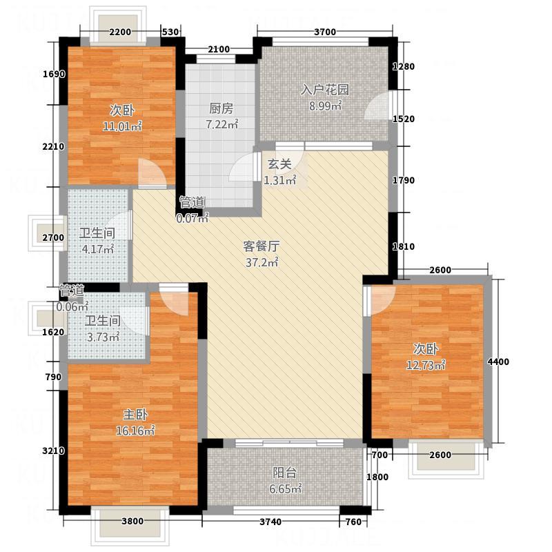 中国铁建领秀城14.20㎡福月园户型3室2厅2卫