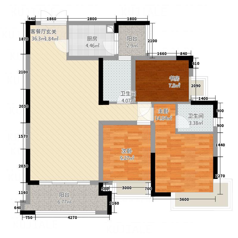 方正园户型2室2厅2卫