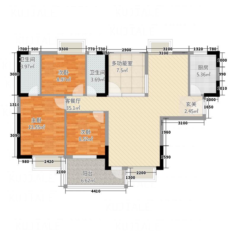 新都汇1幢03单元户型3室2厅2卫1厨