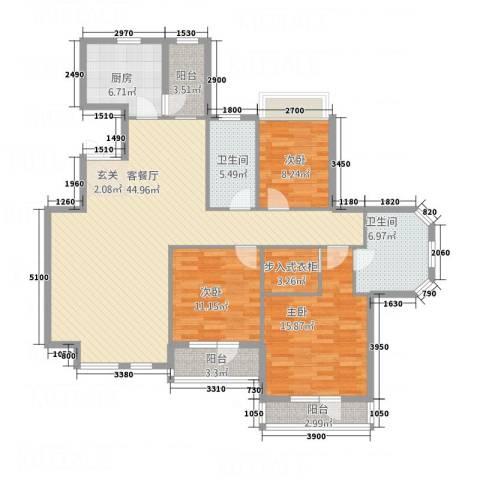 锦联・经典名郡3室1厅2卫1厨158.00㎡户型图