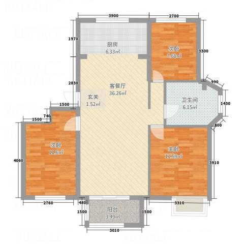 锦联・经典名郡3室1厅1卫0厨108.00㎡户型图