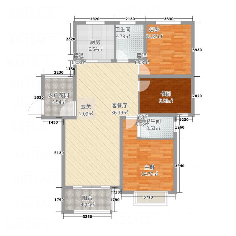 鲁班御景国际13.50㎡E1户型3室2厅2卫1厨