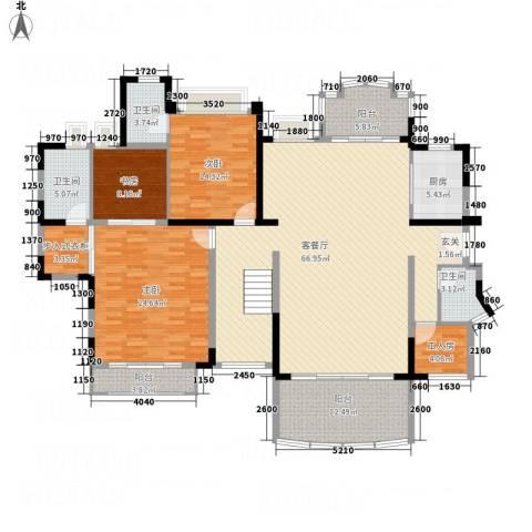 龙珠明苑3室1厅3卫1厨370.00㎡户型图