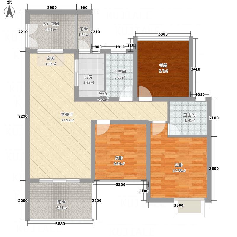 滨河壹号87.60㎡B3户型3室2厅2卫1厨