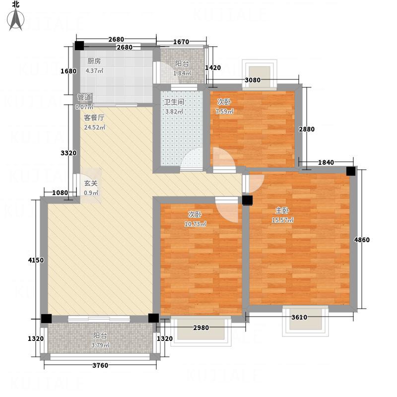 黄金海岸15.40㎡90D户型3室2厅1卫1厨