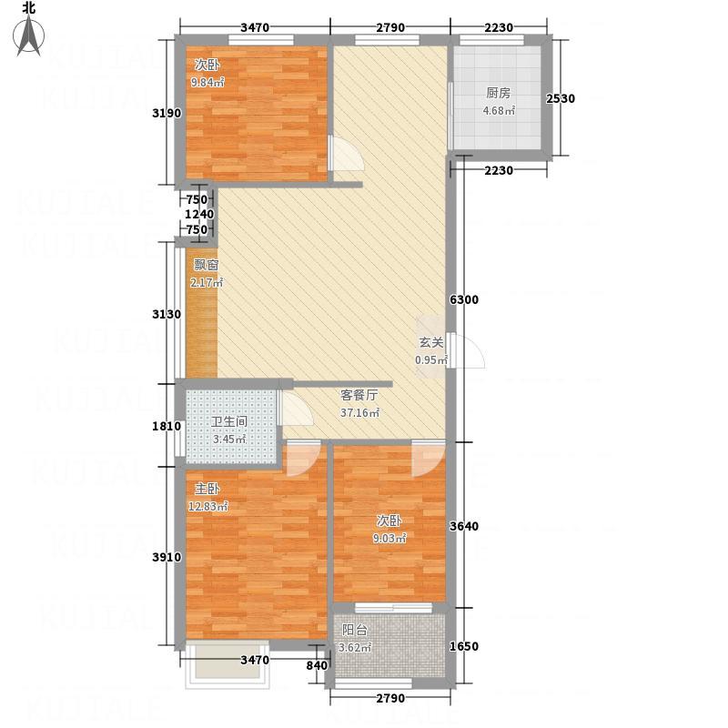 世纪康城3112112.75㎡F3户型3室2厅1卫1厨