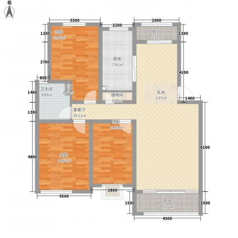 海通时代康桥3室1厅1卫1厨144.00㎡户型图