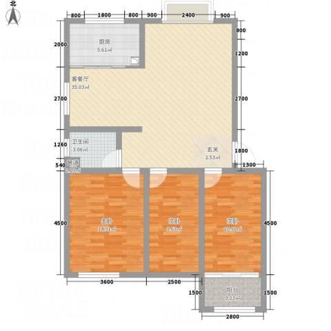海通时代康桥3室1厅1卫1厨117.00㎡户型图
