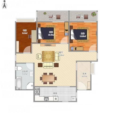 一米阳光美好家园3室1厅1卫1厨132.00㎡户型图
