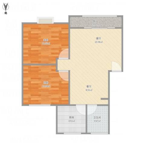 浦发绿城2079弄小区2室1厅1卫1厨78.00㎡户型图