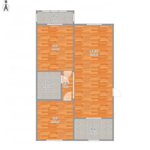 颐和家园2室1厅1卫1厨109.00㎡户型图