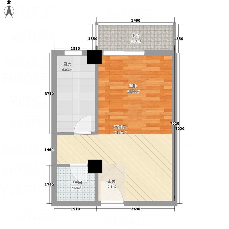 永康城市花园53.00㎡F户型1室2厅1卫