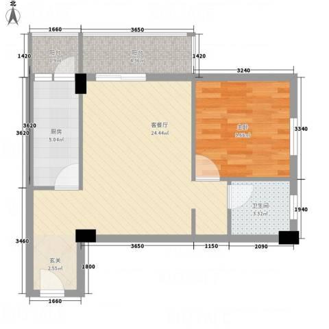 永康城市花园1室1厅1卫1厨48.73㎡户型图