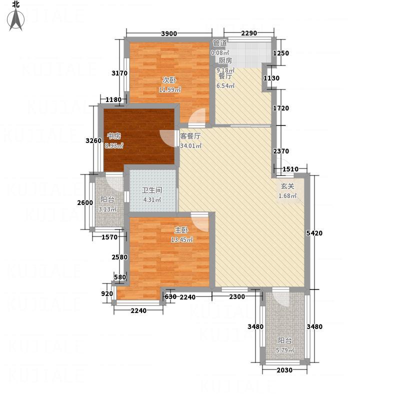 宏运・凤凰新城二期117.63㎡洋房f户型3室2厅1卫1厨