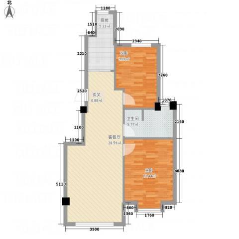 鑫城蓝湾2室1厅1卫1厨86.00㎡户型图