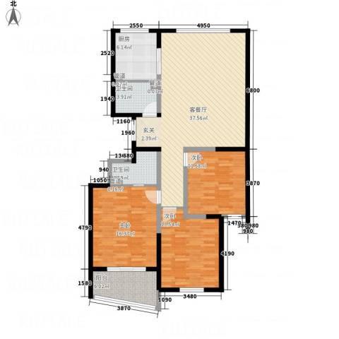 天华・明珠3室1厅2卫1厨141.00㎡户型图