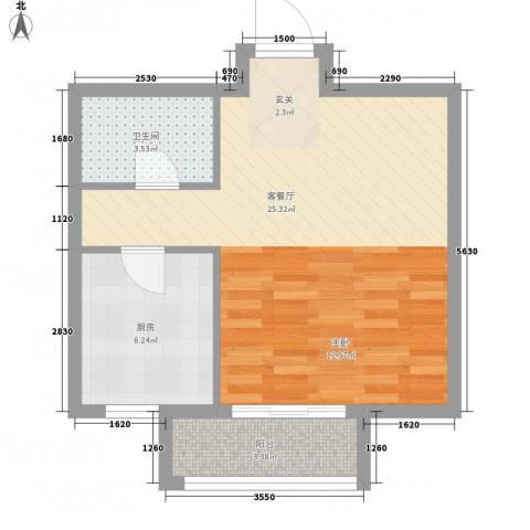 龙栖左岸1厅1卫1厨48.00㎡户型图