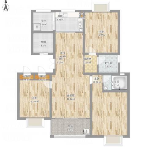 滨河阳光3室1厅2卫1厨158.00㎡户型图