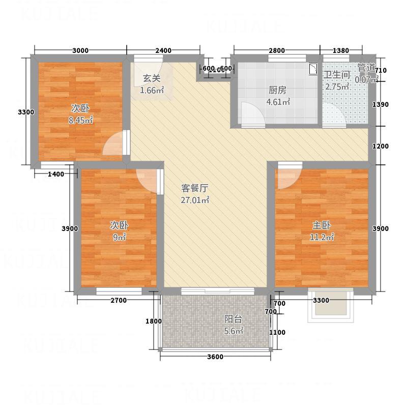 天瑞名城3.70㎡G户型3室2厅1卫