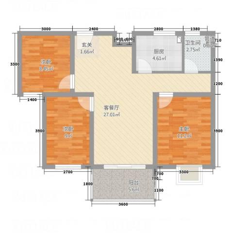 天瑞名城3室1厅1卫1厨68.99㎡户型图