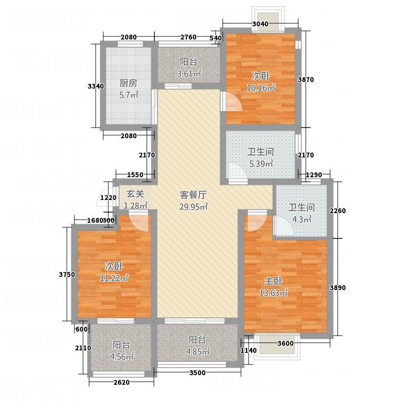 益城名流世家136.26㎡高层B户型3室2厅2卫