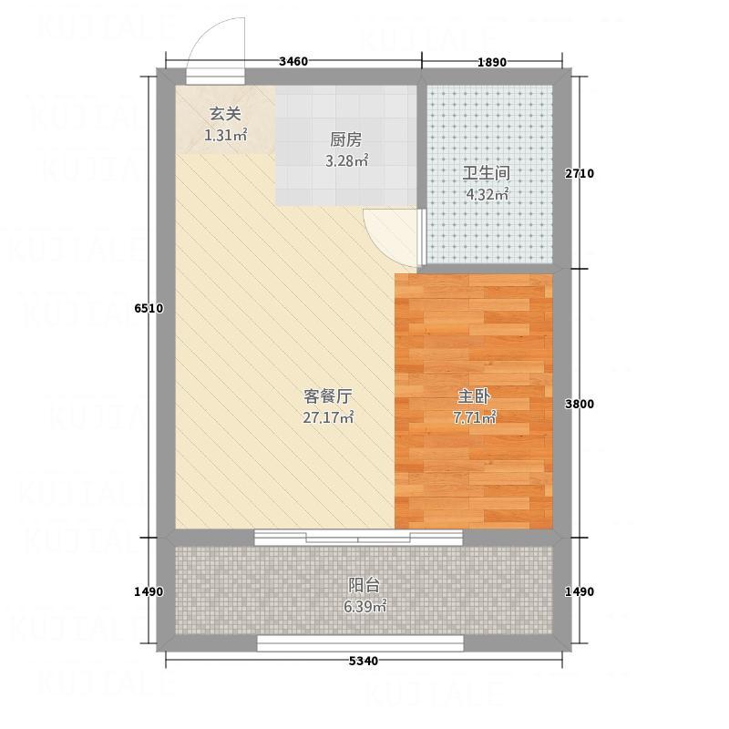 香雪Village55.50㎡B02户型1室1厅1卫1厨